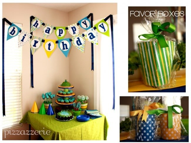 blue green yellow birthday party