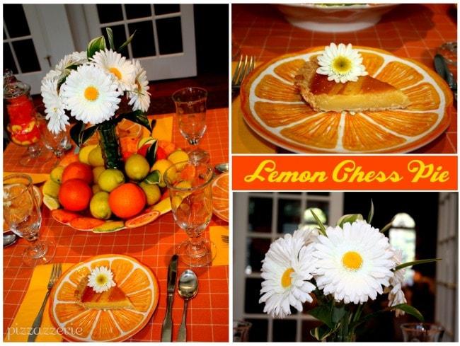 lemon chess pie and citrus table setting