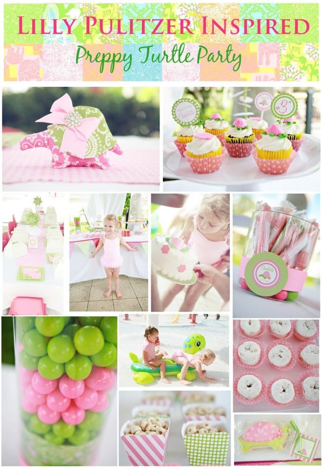 Lilly Pulitzer Inspired Preppy Turtle Girl's Birthday Party Pictures