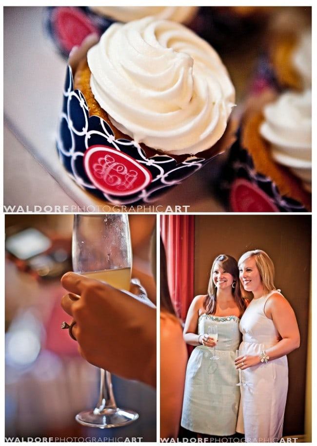 navy and coral wedding cupcakes