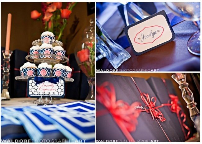 navy and coral wedding luncheon