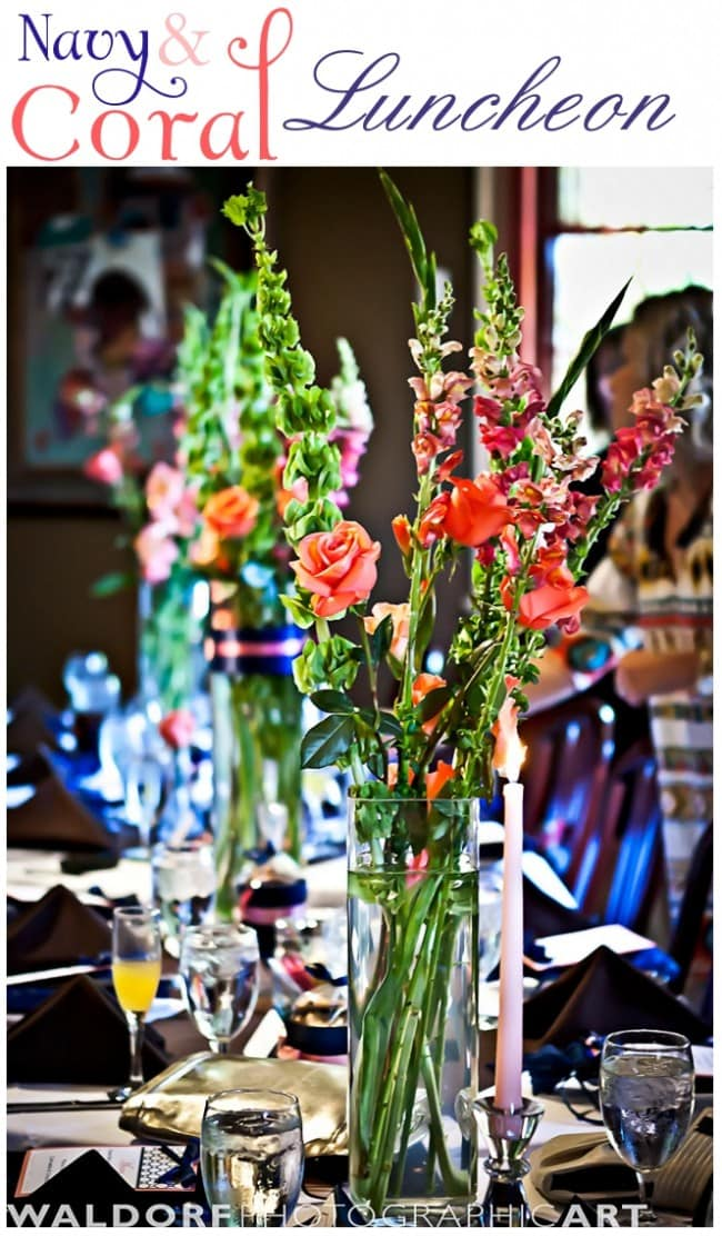 navy and coral bridesmaid luncheon at mere bulles