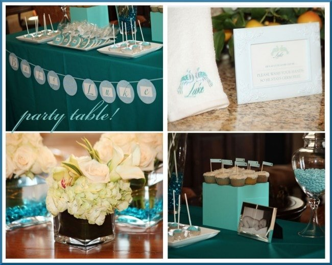peacock party banner and flower arrangements