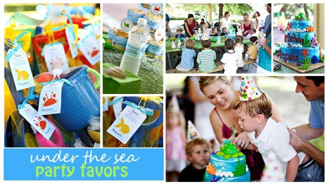 under the sea blue and green bucket party favors