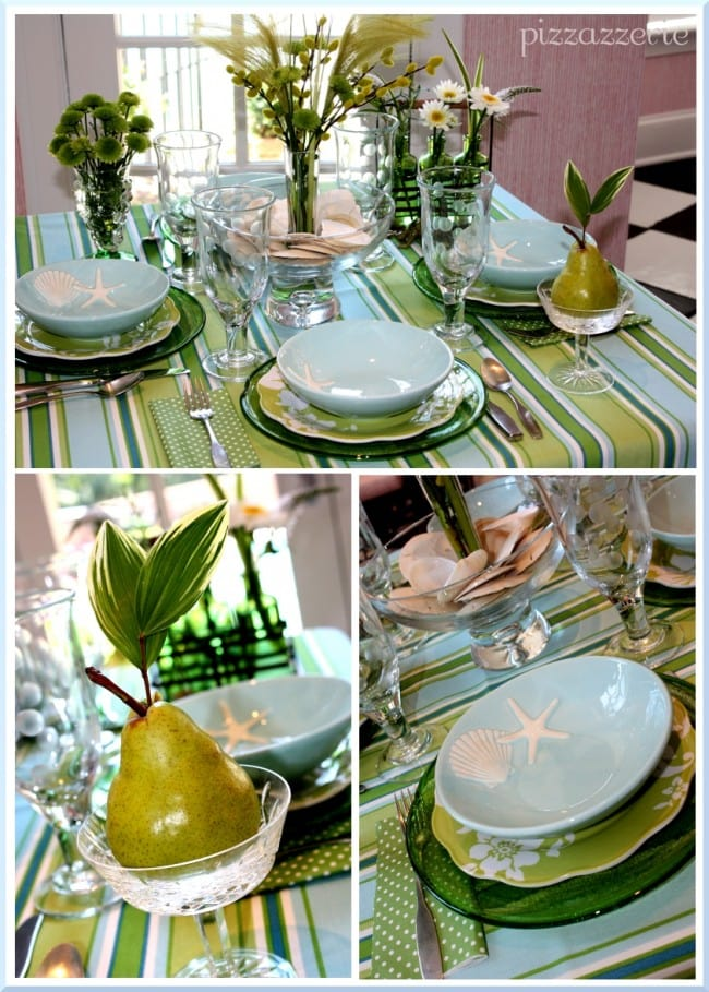 blue and green pear table setting seaside