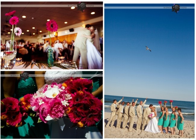 sea shore wedding pink teal