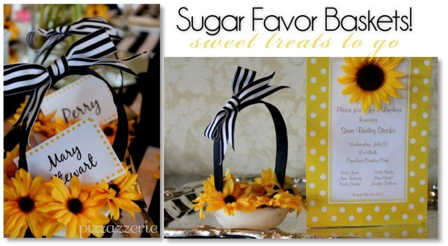 sugar favor baskets for sunflower luncheon party
