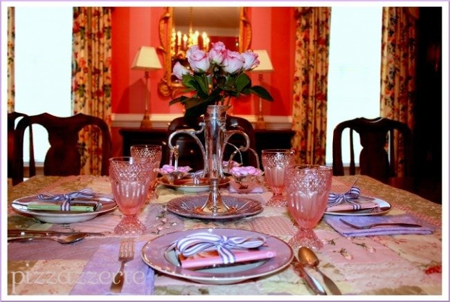 pink and purple birthday luncheon table