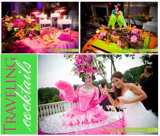 Cocktail Table Model at Tropical Wedding