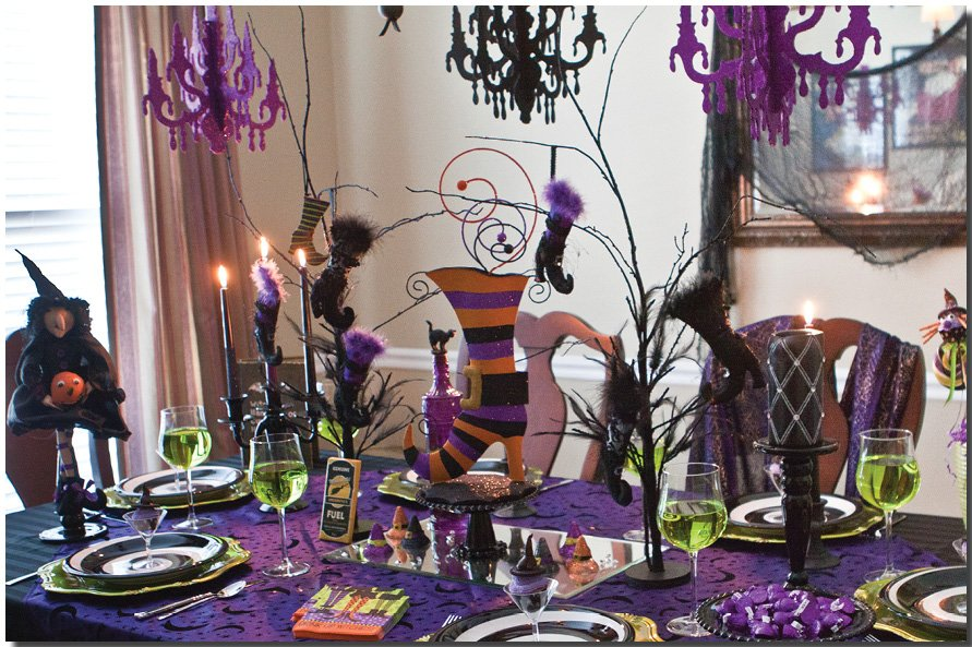 Halloween Dinner Table Setting.Witches Dinner Party Pizzazzerie