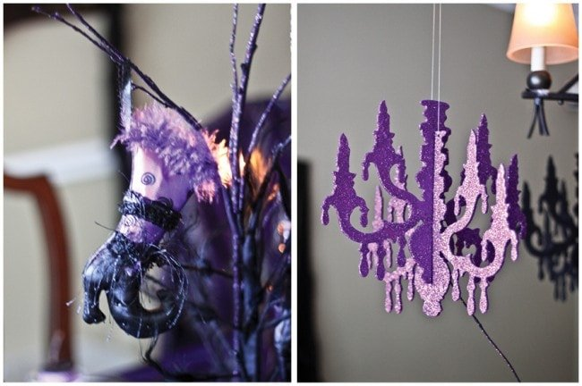 glittered purple hanging chandelier for halloween witches shoe