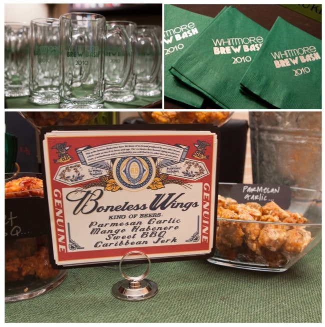 beer tasting party with boneless chicken wings and monogrammed mugs
