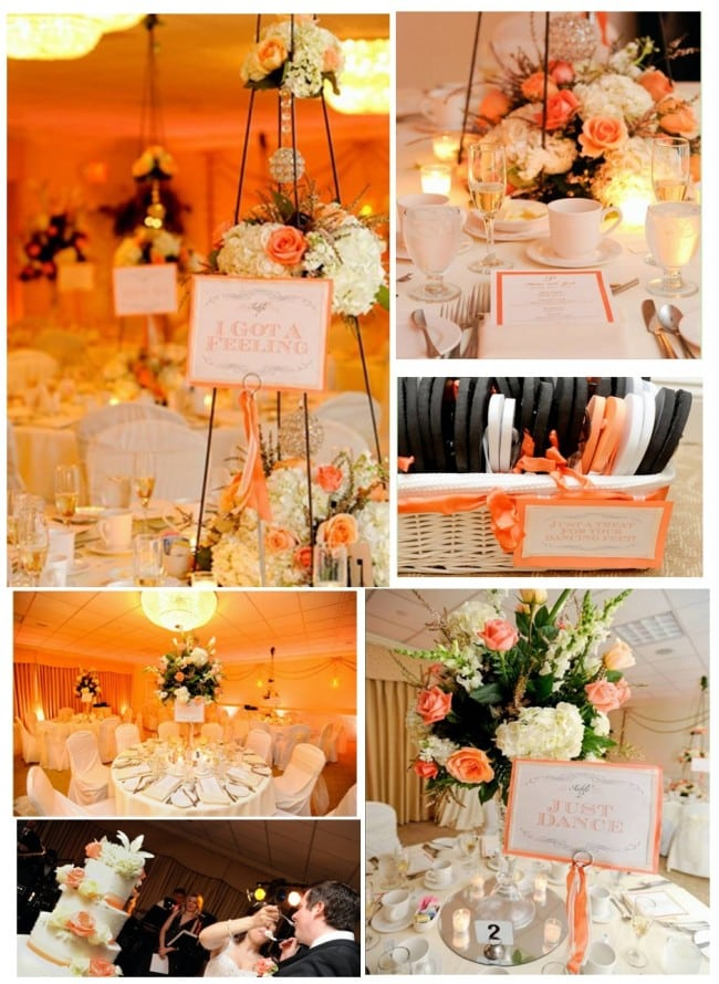 coral and gold wedding pictures and table signs