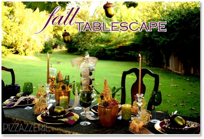 green, golds, and purple fall tablescape designed by courtney dial of pizzazzerie.com
