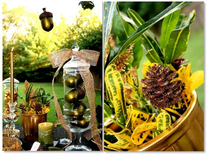 decorative acorns and gold pinecones for fall tablescape by pizzazzerie