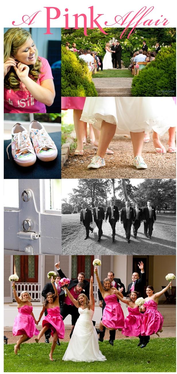 black and pink nashville wedding at belle meade plantation