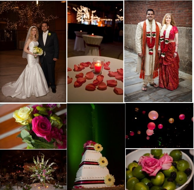 a multicultural hindu and christian weddings in pink, red, orange, green