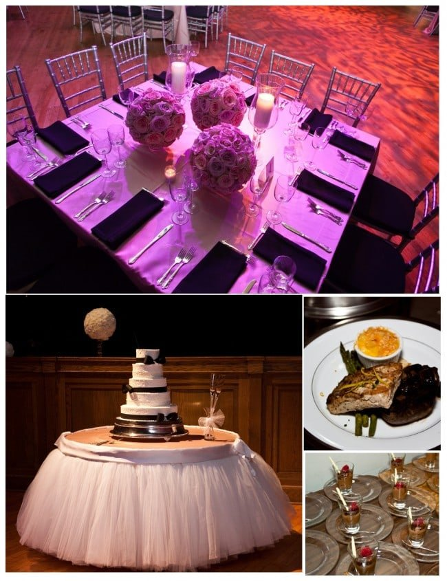 pink floral balls and white black cake