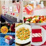 red and yellow sunshine bridal shower by hostess with the mostess