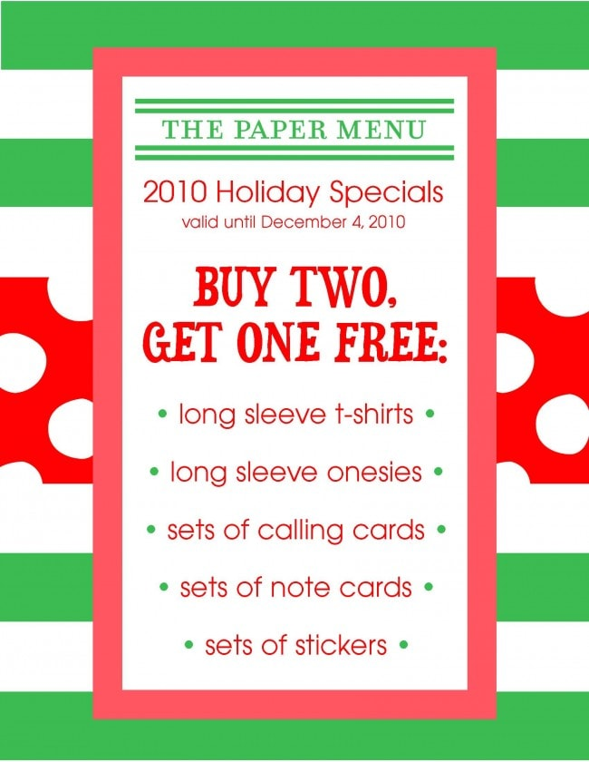 Prim and Paper Shop's The Paper Menu Holiday Sale