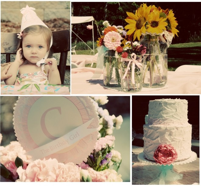 vintage shabby chic birthday cake, wildflowers, and paper banner and paper party hat