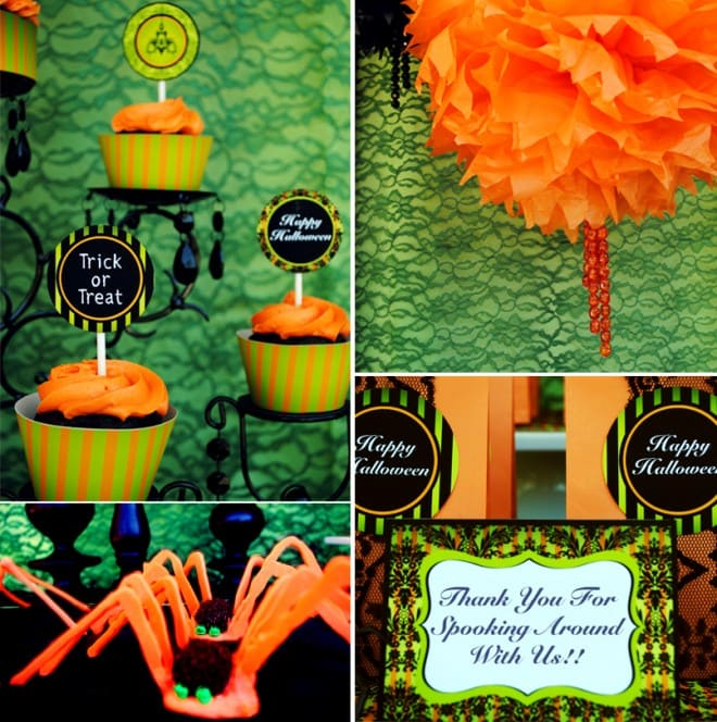 green orange halloween party printables