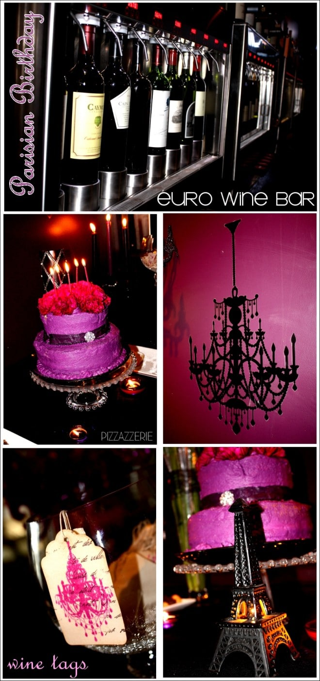 Black and Purple Parisian Birthday Party Chandeliers