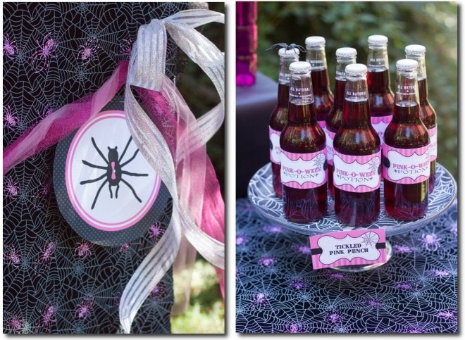 pink spider banner and bottle labels for halloween pinkoween party