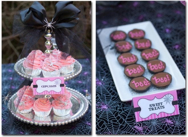pink glitter halloween cupcakes and reeses dessert table for pink party
