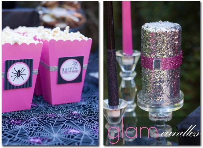 glam glitter candles and pink popcorn boxes for halloween party