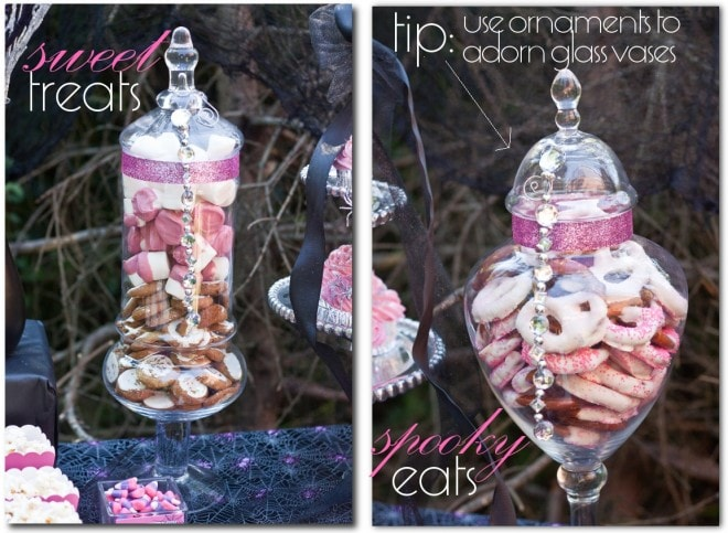 dessert table apothecary jars with pink glam for halloween party