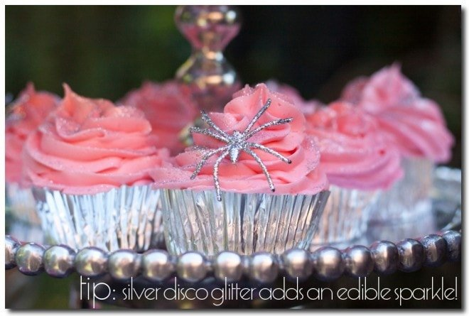 pink glitter silver halloween cupcakes with silver spiders