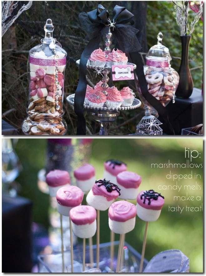 halloween spider marshmallow pops and dessert table