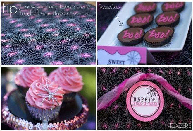 Pink Halloween Party Dessert Table Design