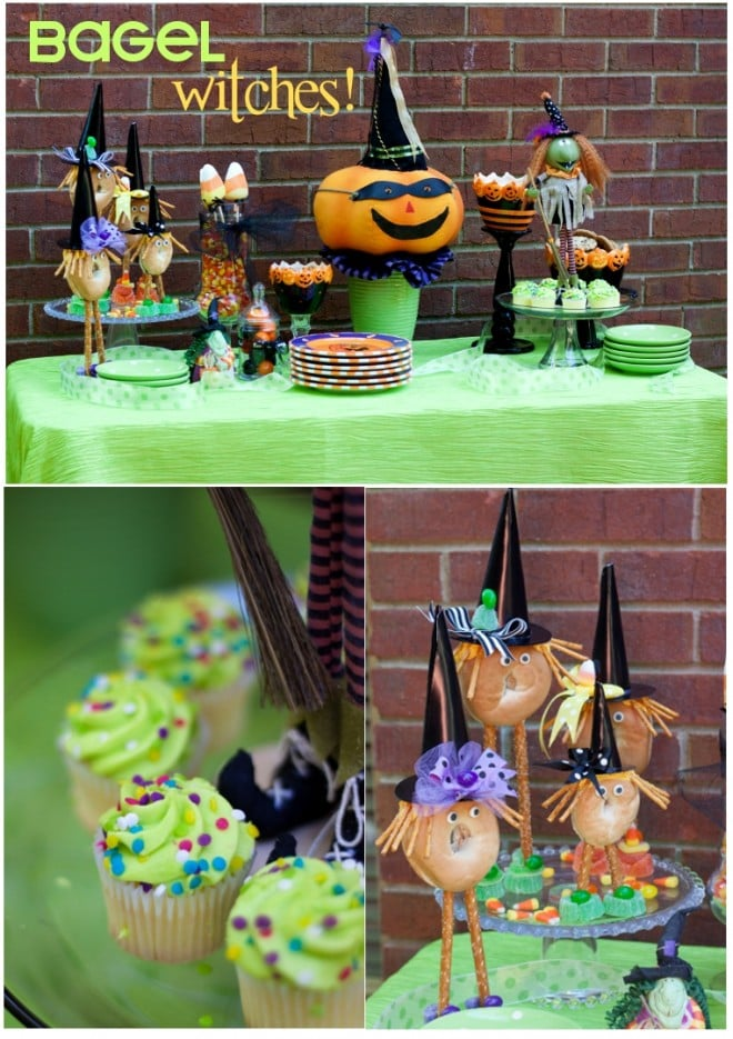 bagel witch halloween table