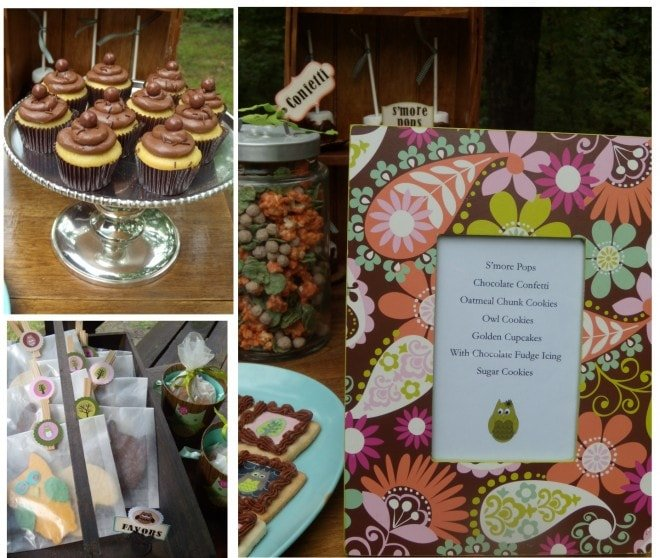 campout theme dessert table with menu and favors