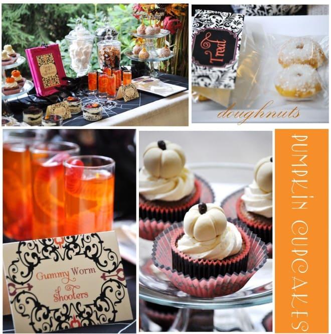 gummy worm pumpkin cupcakes