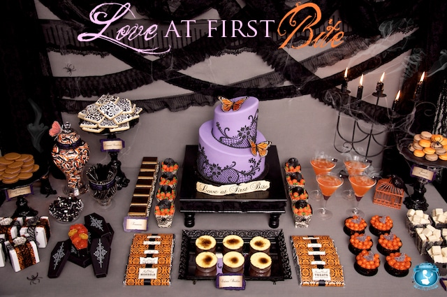 halloween party table by sweets indeed