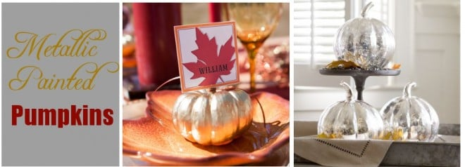 spray painted gold silver pumpkins