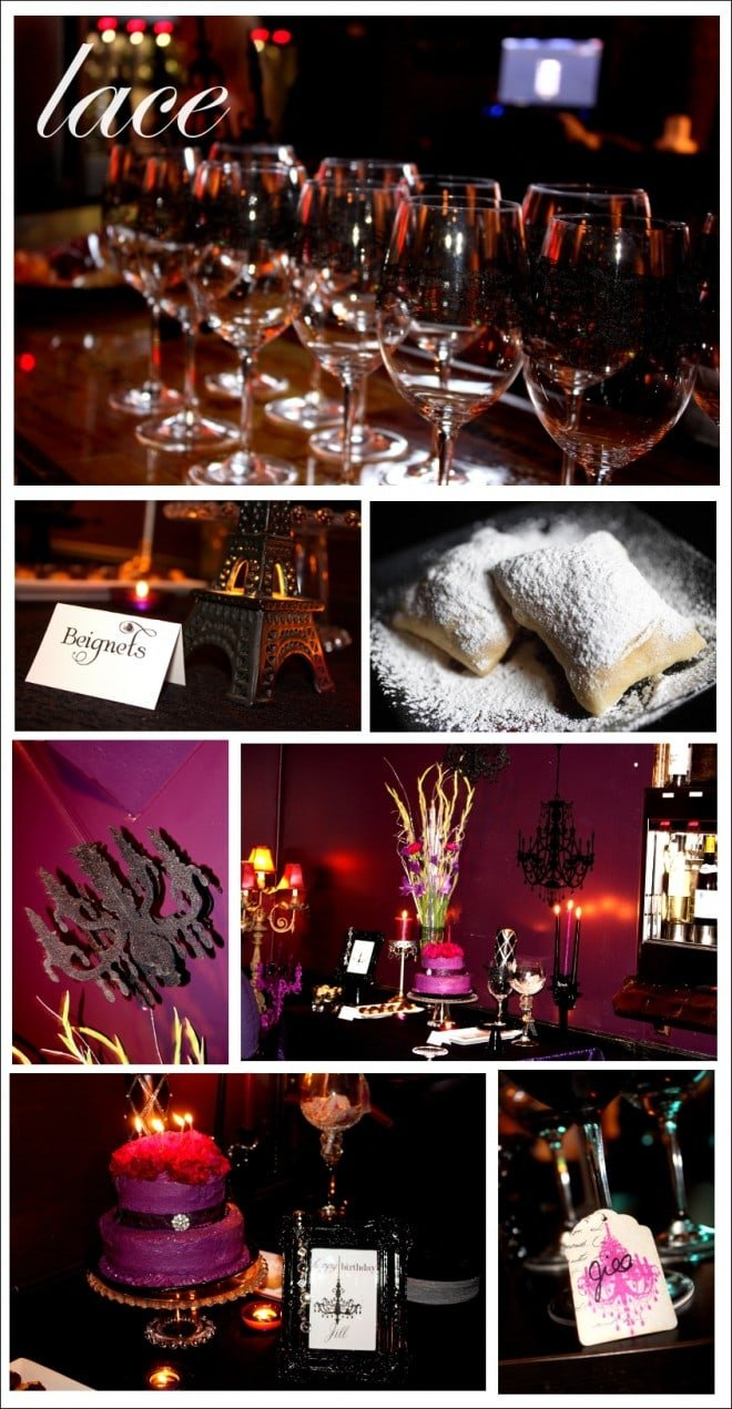 french parisian birthday party with beignets, macaroons, cake