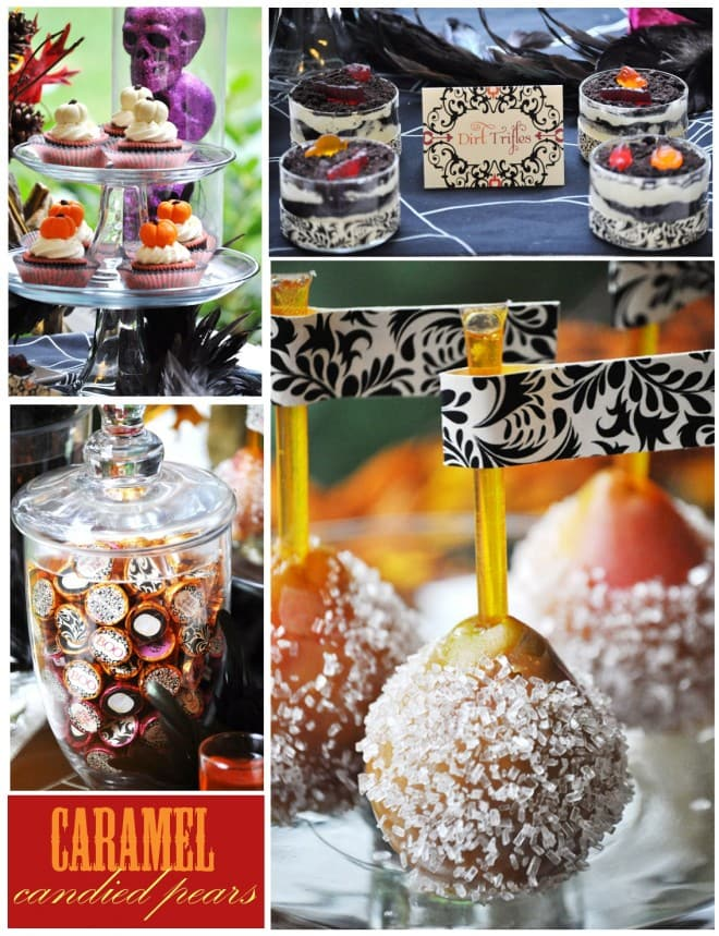 candied pears and halloween desserts for dessert table