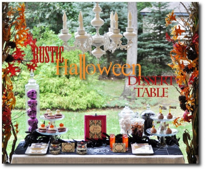 rustic halloween dessert table