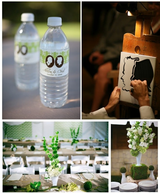 green white silhouette wedding pictures water bottle labels