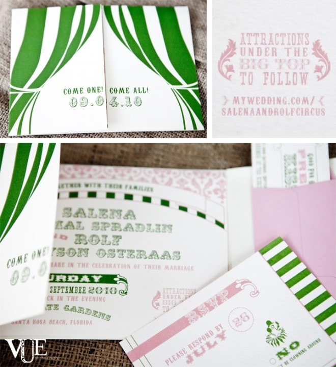 arboreal paper circus themed wedding invitations