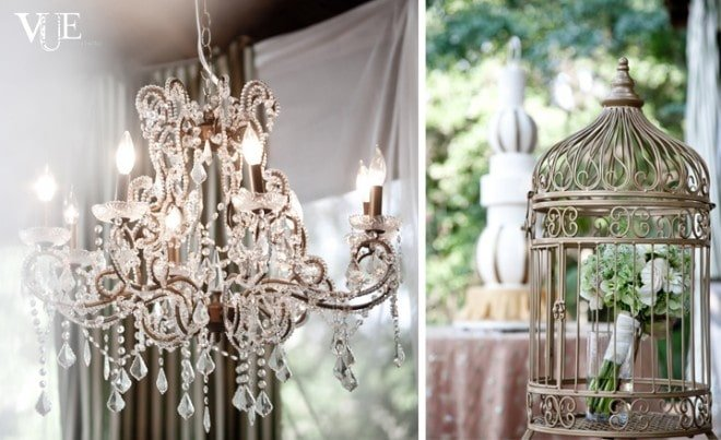 wedding chandelier and birdcage