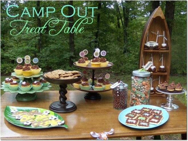 camping treat dessert table with smores