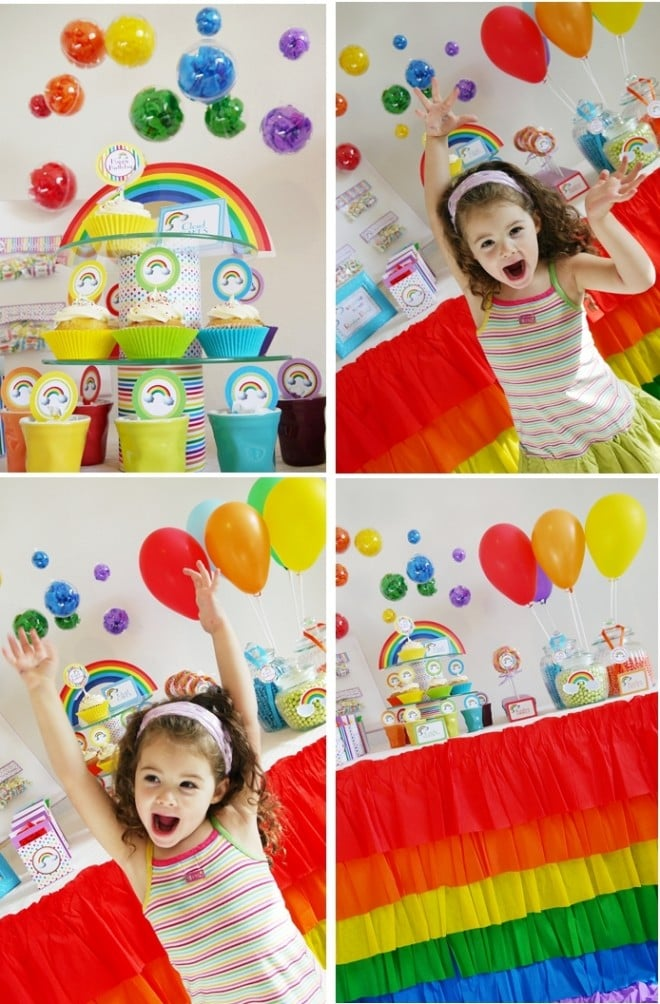 Rainbow Birthday party printable supplies paper stationery
