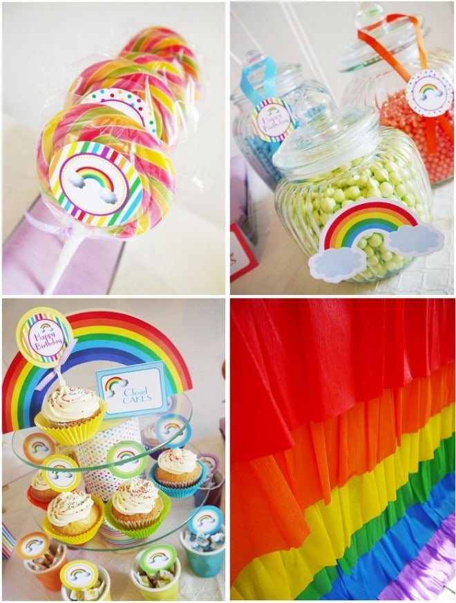 Rainbow Party Supplies printables candy station dessert table