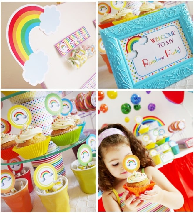 Rainbow Party printables and Cupcake Toppers