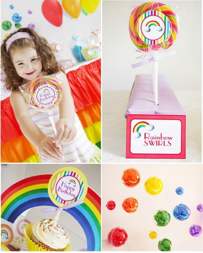 Rainbow party printable supplies digital candy cupcake